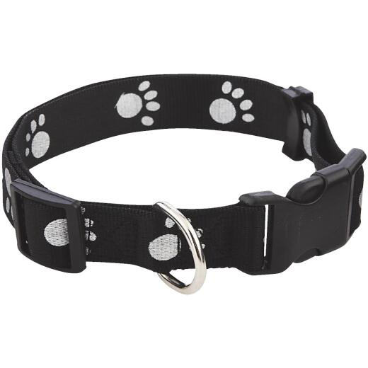 Westminster Pet Ruffin' it Reflective Paw Print 18 In. to 26 In. Nylon Dog Collar