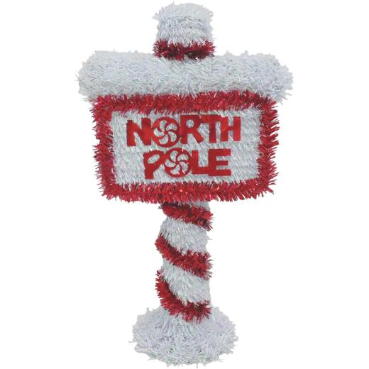 Youngcraft 14 In. Tinsel North Pole Sign Holiday Decoration